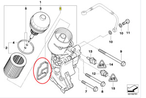 Genuine BMW Oil Filter Housing Gasket 6 Cylinder 3,5,7,X3,X5,Z4 11421719855