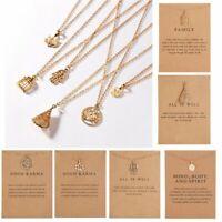 Good karma Lotus Charms Gold Chain Pendant Necklace Womens Fashion Jewellery