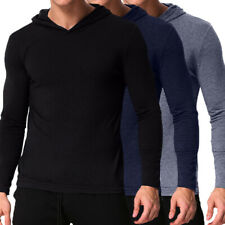 Mens Casual Thin Long Sleeve Hoodie Shirts Hoodies Soft Slim Muscle Tees Tops US