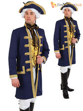 Mens Deluxe Navy Admiral Jacket & Tie Nelson Commander Fancy Dress Costume