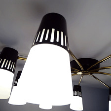 unique MID CENTURY MODERN 9-arms light CHANDELIER ceiling lamp STILNOVO 1960s