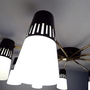JEAN BORIS LACROIX 9- Light Chandelier Modern Design Lamp, Lunel France 1950s