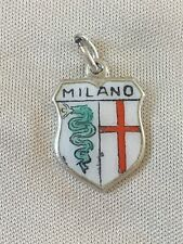 MILANO Silver Travel Shield Enamel Charm