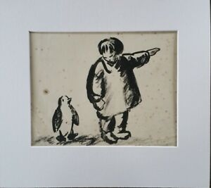 P1060 Inuit Child With A Penguin Pen & Ink Wash Attrib. Patricia Morland Meyrick