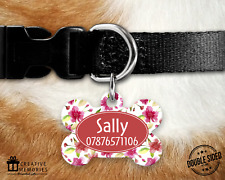Dog Tag Pet Tag ID Tag - Personalised - Bone Tag - Red Pink Flowers Style