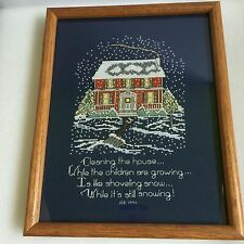 Janlynn Counted Cross Stitch #64-6 Cleaning The House Completed And Framed 1994