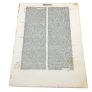RARE 1487 Incunable Early Bible Leaf From Judges Manuscript Codex Paper Old