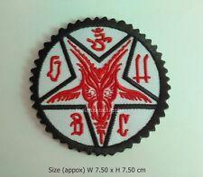 Satan baphomet embroidered sew iron on patch pentagram 666 satanic logo DIY