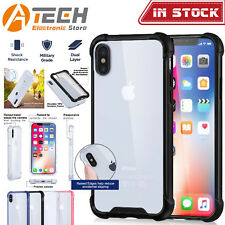 iPhone X Shockproof Hybrid Tough Soft TPU Bumper Clear Case Cover Back for Apple Blue