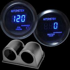 Blue Digital LED Ceisius Water Temp Gauge Black+Oil Pressure Gauge with Holder