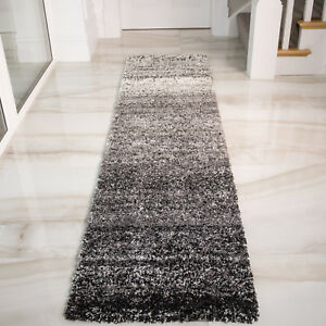 Monochrome Runner Rugs Striped Shaggy Rugs Long Non Shed Hallway Carpet Runners