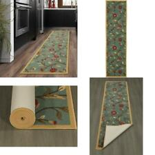 Ottohome Collection Floral Garden Design Sage Green 2 Ft. X 5 Ft. Non-Skid Runne