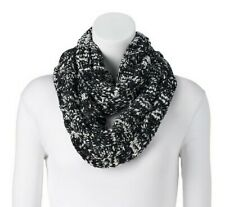SONOMA Goods for Life Cable-Knit Chenille Infinity Scarf, Black, FREE S&H