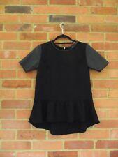 H&M Black Faux Leather Short Sleeve Peplum Top, Size EU 34 / UK 8