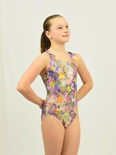 Gymnastics Leotard Intermediate Child(7-8 YEARS) multicolor foil print