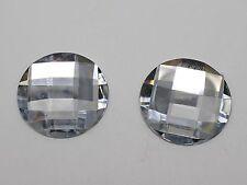 25 Clear Flatback Acrylic Rhinestone Round Gems 25mm No Hole