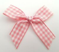 Baby Pink Gingham 15mm 5.5cm Satin Ribbon Ready Made Craft Bows - Pack of 10