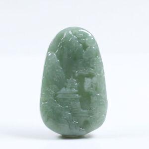 """Certified """"A"""" Natural Green Carved Jadeite Jade Gems Pendant Landscape a4049"""