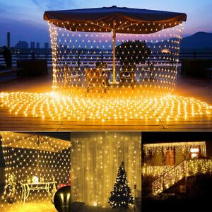 LED Lichternetz Lichterkette Lichtervorhang Warmweiß Weihnachtsdeko Außen Innen