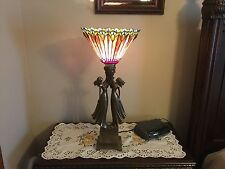 """Tiffany Style Stained Glass 27"""" High Bedroom Lamps With Figurines"""