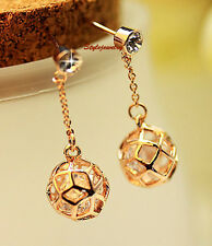 Elegant Antique Rose Gold Plated Crystal Filigree Dangle Ball Earring IE53