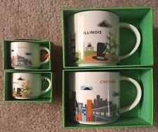 STARBUCKS YOU ARE HERE  SET OF 4 Chicago & Illinois Mug & Ornaments