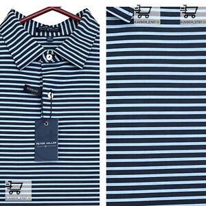 Peter Millar Crown Crafted Summer Tour Golf Polo ⛳️ M MEDIUM ⛳️ BLUE Striped