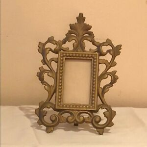 Vintage Cast Iron Art Brass Plated Ornate Picture Frame + Easel & Glass Antique