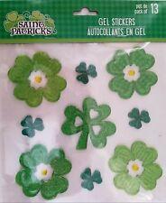 St. Patrick's Day Four Leaf Clover Window Gel Stickers Decorations 13 Stickers w