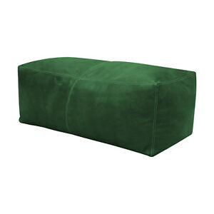 Green Moroccan Pouf, rectangular Leather Moroccan Pouf Handmade Ottoman Foot