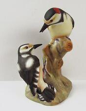 Hermoso Royal Worcester Pied pájaros carpinteros 3363 doble Estatuilla De Aves