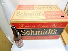 24 Schmidt's Brown Beer Bottles w/ Flip Top Case that are in good empty shape NR