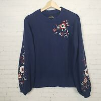 Lucky Brand Womens Sweater Size S Navy Blue Embroidered Ballon Sleeve NWT