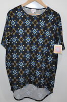 Lularoe Irma size xxs Geometric Tunic Shirt Black Blue Yellow NWT