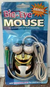 NEW/Vintage 2002 Big-Eye Wired Computer Mouse-Waterball/Googly Eyed Penguin