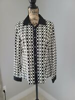 J mclaughlin Long Sleeve Button Up Blouse Size Large Black White Collared