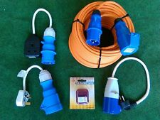 25m STD DUTY MAINS HOOKUP LEAD + ACCESSORY KIT CARAVAN MOTORHOME EHU HOOK UP