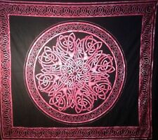 CELTIC KNOT MANDALA BURGUNDY MEDIEVAL WICCA HIPPIE TAPESTRY WALL HANGING USA