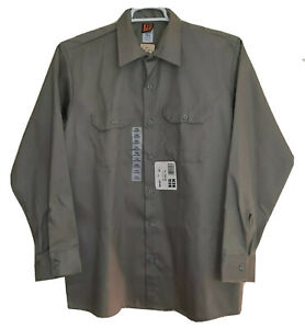 NWT Wrangler Big Ben Men's Large Twill Long Sleeve Gray Vintage 80's Work Shirt