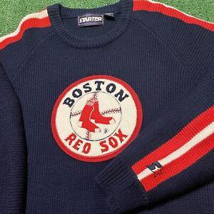 Boston Red Sox Sweater Mens XL Adult Blue Vintage 80s Starter MLB Baseball Rare