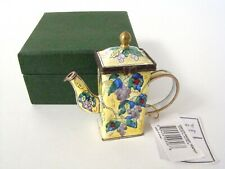 KELVIN CHEN Enamel Hinged Miniature Teapot Yellow Grapes and Ladybugs ENK826