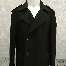 Armani Exchange Black Short Trench Coat Mens L Double Breasted Cotton Viscose