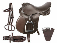 NEW ALL PURPOSE BROWN ENGLISH SADDLE STARTER SET BROWN BLACK TACK SET 16 17