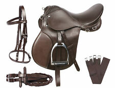 15 16 17 BROWN ENGLISH SADDLE HORSE ALL PURPOSE BRIDLE REINS LEATHER IRONS GIRTH