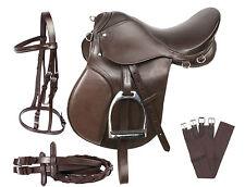 PRO ALL PURPOSE BROWN LEATHER ENGLISH HORSE SADDLE GIRTH TACK SET 16 18