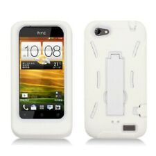 HTC ONE V Impact Hybrid Hard Rubber Case Phone Cover + Kick Stand White White
