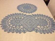 Crocheted blue runner and doily