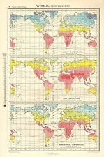 1952 MAP ~ BOLA DEL MUNDO TEMPERATURA ENERO & JULIO ~ MEAN ANUAL TEMPERATURA