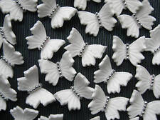 24 Edible White Butterflies CUPCAKE TOPPERS WEDDING CAKE DECORATIONS