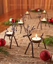 6x Christmas Reindeer Tea Light Candle Holders & Tealights Xmas Home Decor Gift